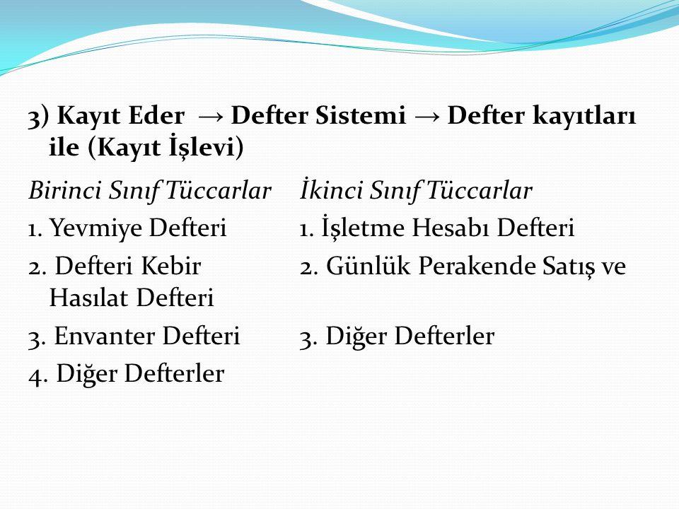 3) Kayıt Eder → Defter Sistemi → Defter kayıtları ile (Kayıt İşlevi) Birinci Sınıf Tüccarlarİkinci Sınıf Tüccarlar 1. Yevmiye Defteri 1. İşletme Hesab