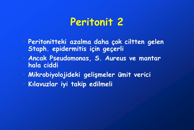 Peritonit 2 •Peritonitteki azalma daha çok ciltten gelen Staph. epidermitis için geçerli •Ancak Pseudomonas, S. Aureus ve mantar hala ciddi •Mikrobiyo