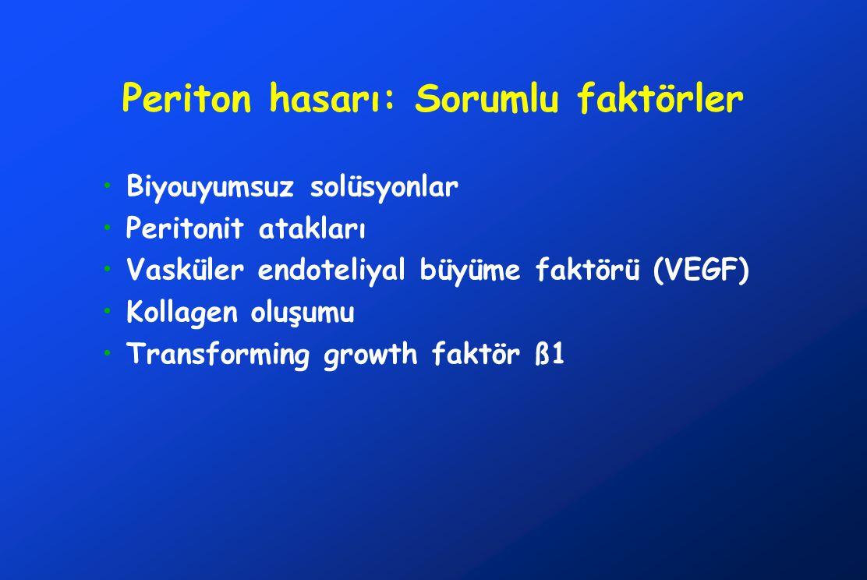 Periton hasarı: Sorumlu faktörler •Biyouyumsuz solüsyonlar •Peritonit atakları •Vasküler endoteliyal büyüme faktörü (VEGF) •Kollagen oluşumu •Transfor