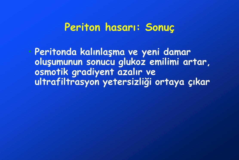 Periton hasarı: Sonuç •Peritonda kalınlaşma ve yeni damar oluşumunun sonucu glukoz emilimi artar, osmotik gradiyent azalır ve ultrafiltrasyon yetersiz