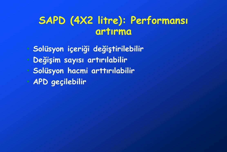 SAPD (4X2 litre): Performansı artırma •Solüsyon içeriği değiştirilebilir •Değişim sayısı artırılabilir •Solüsyon hacmi arttırılabilir •APD geçilebilir
