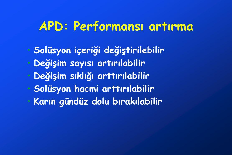 APD: Performansı artırma •Solüsyon içeriği değiştirilebilir •Değişim sayısı artırılabilir •Değişim sıklığı arttırılabilir •Solüsyon hacmi arttırılabil
