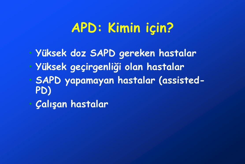 APD: Kimin için? •Yüksek doz SAPD gereken hastalar •Yüksek geçirgenliği olan hastalar •SAPD yapamayan hastalar (assisted- PD) •Çalışan hastalar
