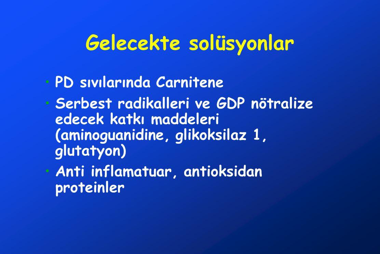 Gelecekte solüsyonlar •PD sıvılarında Carnitene •Serbest radikalleri ve GDP nötralize edecek katkı maddeleri (aminoguanidine, glikoksilaz 1, glutatyon