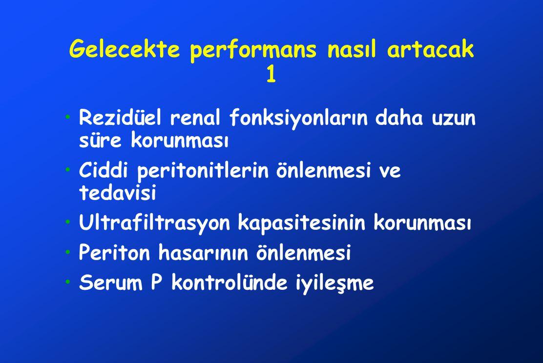 Gelecekte performans nasıl artacak 1 •Rezidüel renal fonksiyonların daha uzun süre korunması •Ciddi peritonitlerin önlenmesi ve tedavisi •Ultrafiltras