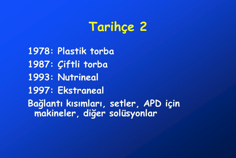 Tarihçe 2 1978: Plastik torba 1987: Çiftli torba 1993: Nutrineal 1997: Ekstraneal Bağlantı kısımları, setler, APD için makineler, diğer solüsyonlar