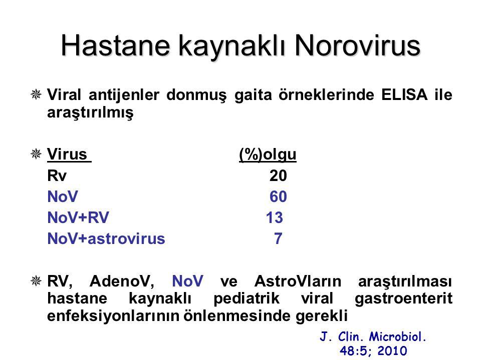 Hastane kaynaklı Norovirus  Viral antijenler donmuş gaita örneklerinde ELISA ile araştırılmış  Virus (%)olgu Rv20 NoV60 NoV+RV 13 NoV+astrovirus 7 