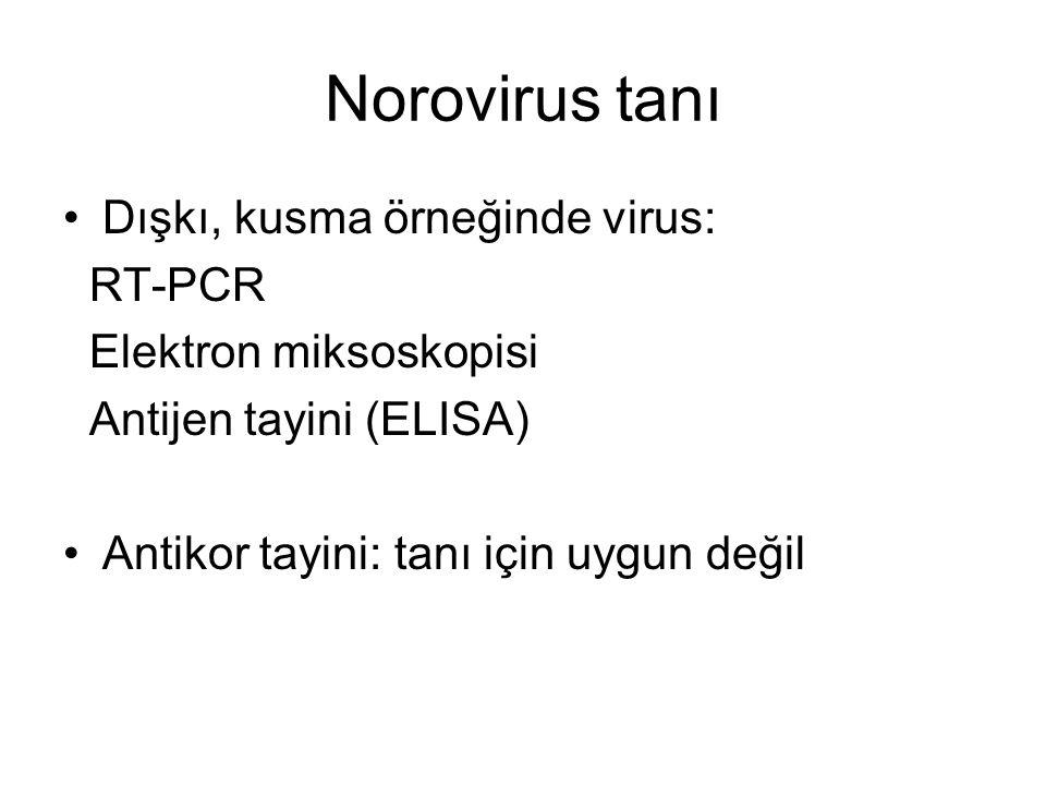 Norovirus tanı •Dışkı, kusma örneğinde virus: RT-PCR Elektron miksoskopisi Antijen tayini (ELISA) •Antikor tayini: tanı için uygun değil