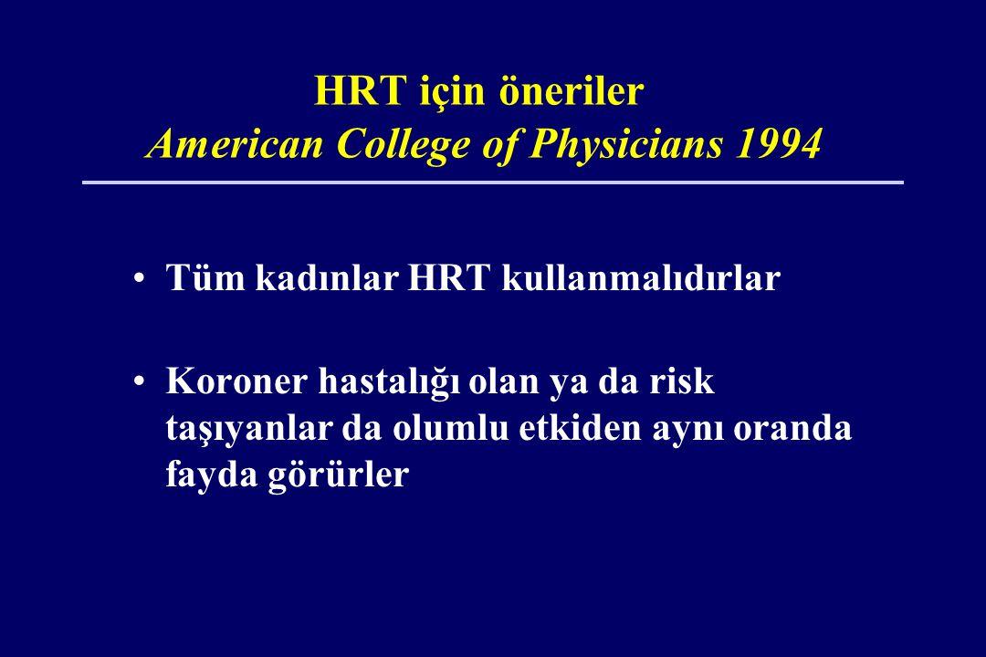 HRT için öneriler American College of Physicians 1994 •Tüm kadınlar HRT kullanmalıdırlar •Koroner hastalığı olan ya da risk taşıyanlar da olumlu etkiden aynı oranda fayda görürler