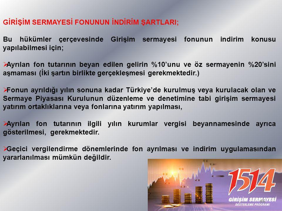 GİRİŞİM SERMAYESİ FONUNUN İNDİRİM ŞARTLARI; Bu hükümler çerçevesinde Girişim sermayesi fonunun indirim konusu yapılabilmesi için;  Ayrılan fon tutarının beyan edilen gelirin %10'unu ve öz sermayenin %20'sini aşmaması (İki şartın birlikte gerçekleşmesi gerekmektedir.)  Fonun ayrıldığı yılın sonuna kadar Türkiye'de kurulmuş veya kurulacak olan ve Sermaye Piyasası Kurulunun düzenleme ve denetimine tabi girişim sermayesi yatırım ortaklıklarına veya fonlarına yatırım yapılması,  Ayrılan fon tutarının ilgili yılın kurumlar vergisi beyannamesinde ayrıca gösterilmesi, gerekmektedir.