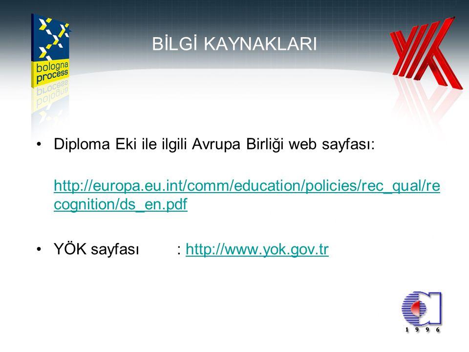 12 BİLGİ KAYNAKLARI •Diploma Eki ile ilgili Avrupa Birliği web sayfası: http://europa.eu.int/comm/education/policies/rec_qual/re cognition/ds_en.pdf h