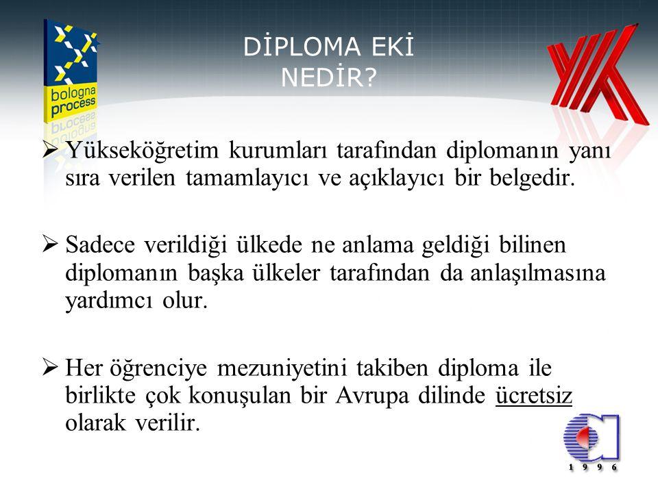 2 DİPLOMA EKİ NEDİR?  Yükseköğretim kurumları tarafından diplomanın yanı sıra verilen tamamlayıcı ve açıklayıcı bir belgedir.  Sadece verildiği ülke