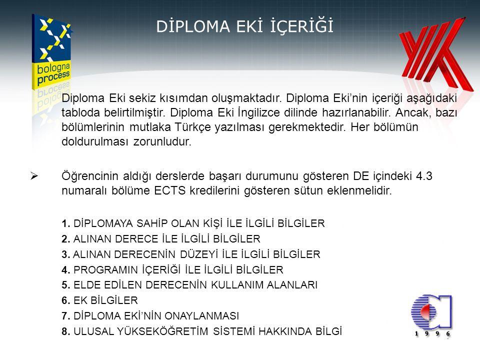 7 DİPLOMA EKİ İÇERİĞİ Diploma Eki sekiz kısımdan oluşmaktadır. Diploma Eki'nin içeriği aşağıdaki tabloda belirtilmiştir. Diploma Eki İngilizce dilinde