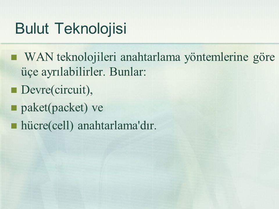 Bulut Teknolojisi  WAN teknolojileri anahtarlama yöntemlerine göre üçe ayrılabilirler. Bunlar:  Devre(circuit),  paket(packet) ve  hücre(cell) ana
