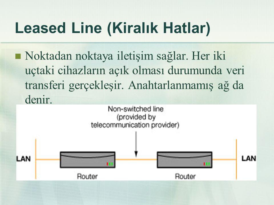 Leased Line (Kiralık Hatlar)  Noktadan noktaya iletişim sağlar. Her iki uçtaki cihazların açık olması durumunda veri transferi gerçekleşir. Anahtarla