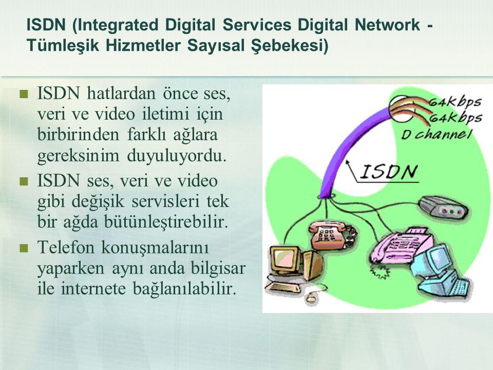 ISDN (Integrated Digital Services Digital Network - Tümleşik Hizmetler Sayısal Şebekesi)  ISDN hatlardan önce ses, veri ve video iletimi için birbiri