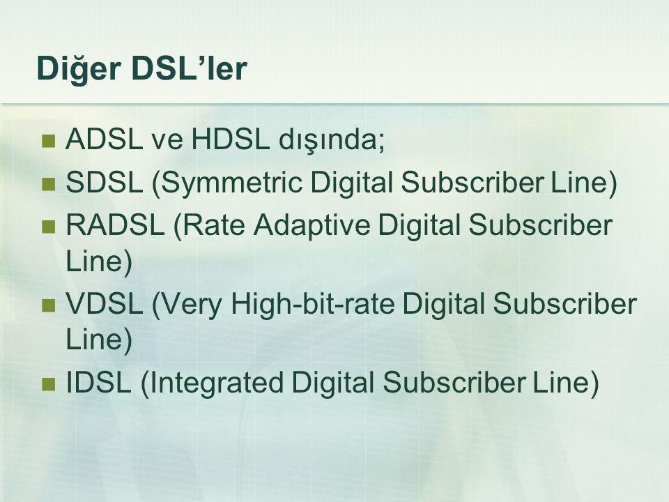 Diğer DSL'ler  ADSL ve HDSL dışında;  SDSL (Symmetric Digital Subscriber Line)  RADSL (Rate Adaptive Digital Subscriber Line)  VDSL (Very High-bit