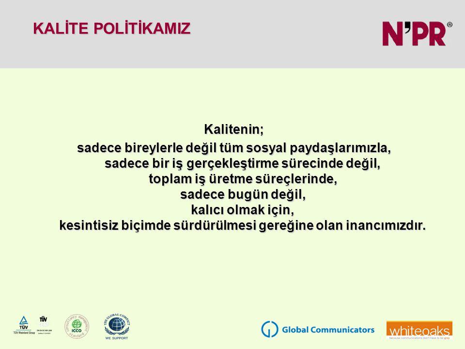 KÜRESEL İLKELER SÖZLEŞMESİ DESTEĞE DEVAM BEYANI Halkla İlişkiler ve İletişim sektöründe Ankara ve İstanbul ofisleri ile hizmet veren 15 yıllık bir firma olan N'PR İletişim, Birleşmiş Milletler tarafından çalışmalarına başlanan insan hakları, çalışma, çevre için ve yolsuzluk karşıtı 10 evrensel prensipten oluşan Küresel İlkeler Sözleşmesi 'ne (Global Compact) imza atarak, tüm sosyal paydaşları ile bir eylem ilkesi olarak etik tutumu benimsediğini göstermiş bundan sonra da sözkonusu ilkelere bağlı kalacağını ve sürekli gelişeceğini beyan etmektedir.
