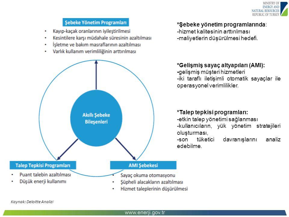 Kaynak: Deloitte Analizi *Şebeke yönetim programlarında: -hizmet kalitesinin arttırılması -maliyetlerin düşürülmesi hedefi. *Gelişmiş sayaç altyapılar