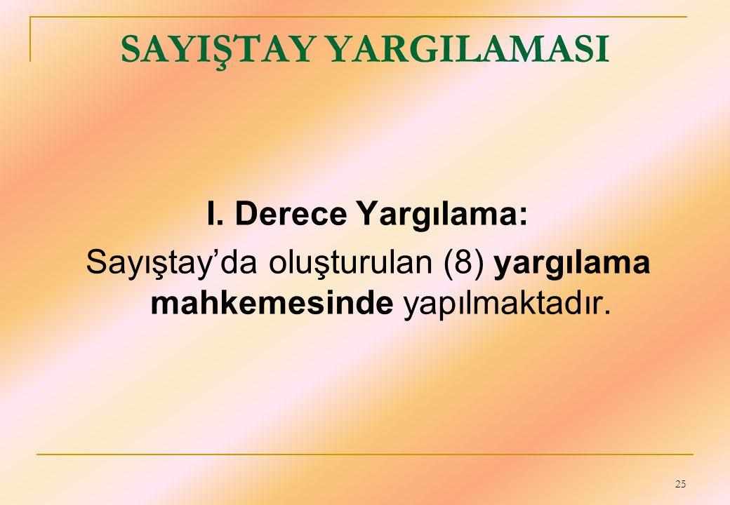 25 SAYIŞTAY YARGILAMASI I. Derece Yargılama: Sayıştay'da oluşturulan (8) yargılama mahkemesinde yapılmaktadır.