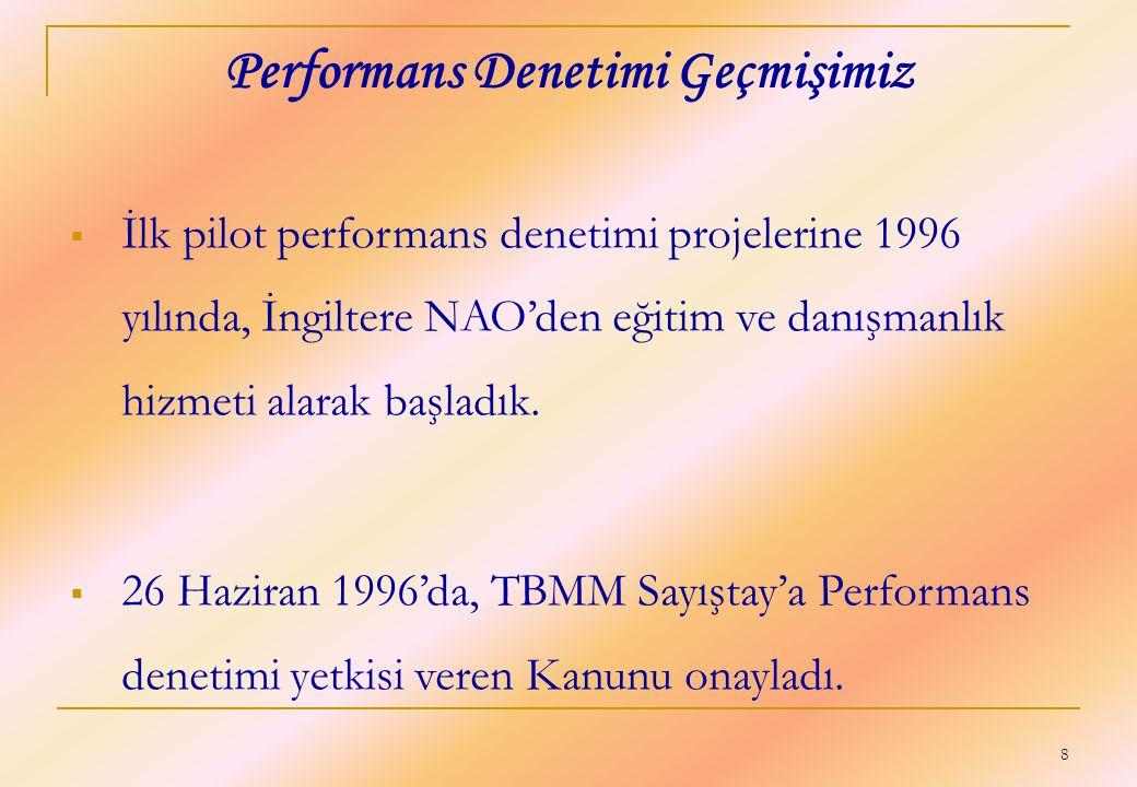 8 Performans Denetimi Geçmişimiz  İlk pilot performans denetimi projelerine 1996 yılında, İngiltere NAO'den eğitim ve danışmanlık hizmeti alarak başl
