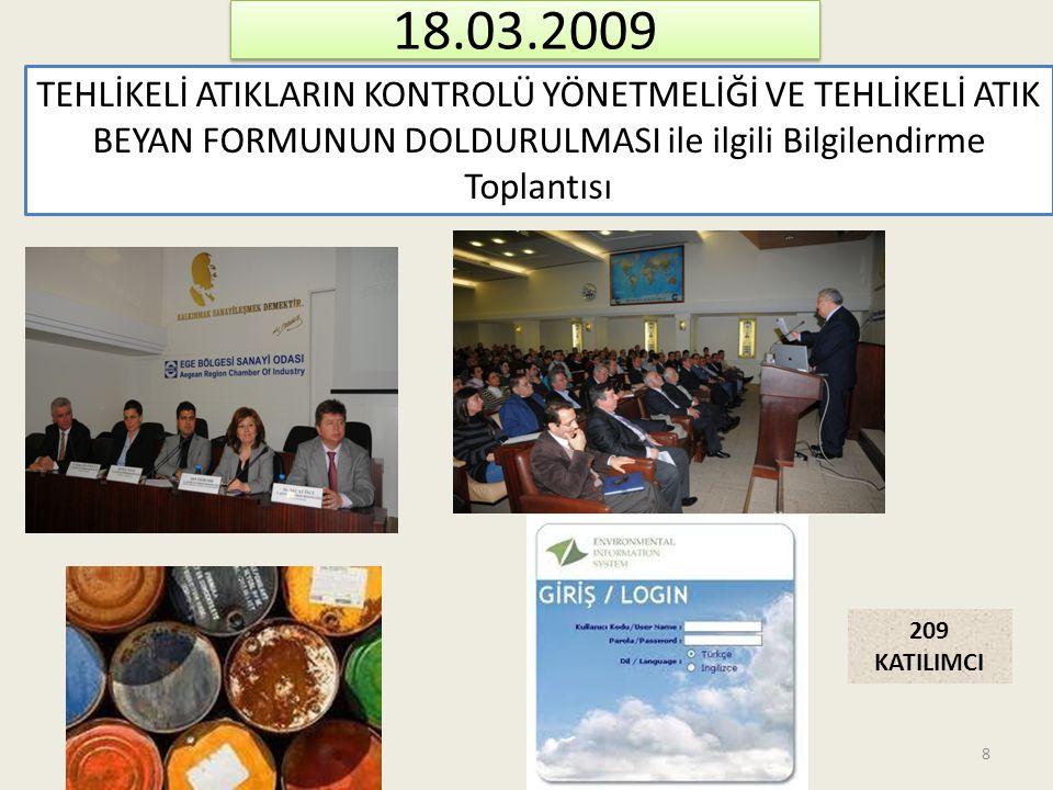 18.03.2009 TEHLİKELİ ATIKLARIN KONTROLÜ YÖNETMELİĞİ VE TEHLİKELİ ATIK BEYAN FORMUNUN DOLDURULMASI ile ilgili Bilgilendirme Toplantısı 209 KATILIMCI 8
