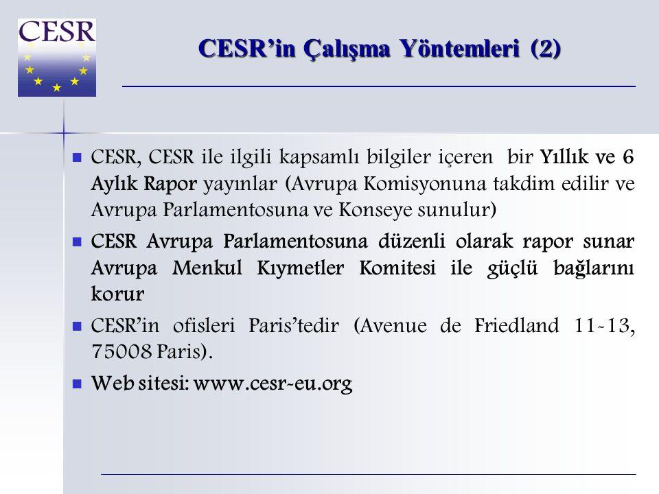 CESR'in Çalışma Yöntemleri (2)   CESR, CESR ile ilgili kapsamlı bilgiler içeren bir Yıllık ve 6 Aylık Rapor yayınlar (Avrupa Komisyonuna takdim edilir ve Avrupa Parlamentosuna ve Konseye sunulur)   CESR Avrupa Parlamentosuna düzenli olarak rapor sunar Avrupa Menkul Kıymetler Komitesi ile güçlü ba ğ larını korur   CESR'in ofisleri Paris'tedir (Avenue de Friedland 11-13, 75008 Paris).