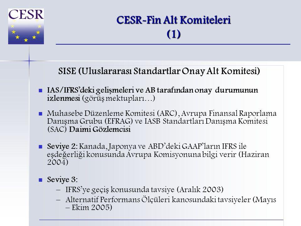 CESR-Fin Alt Komiteleri (1) SISE (Uluslararası Standartlar Onay Alt Komitesi)   IAS/IFRS'deki geli ş meleri ve AB tarafından onay durumunun izlenmesi (görü ş mektupları…)   Muhasebe Düzenleme Komitesi (ARC), Avrupa Finansal Raporlama Danı ş ma Grubu (EFRAG) ve IASB Standartları Danı ş ma Komitesi (SAC) Daimi Gözlemcisi   Seviye 2: Kanada, Japonya ve ABD'deki GAAP'ların IFRS ile e ş de ğ erli ğ i konusunda Avrupa Komisyonuna bilgi verir (Haziran 2004)   Seviye 3: – –IFRS'ye geçi ş konusunda tavsiye (Aralık 2003) – –Alternatif Performans Ölçüleri kanosundaki tavsiyeler (Mayıs – Ekim 2005)