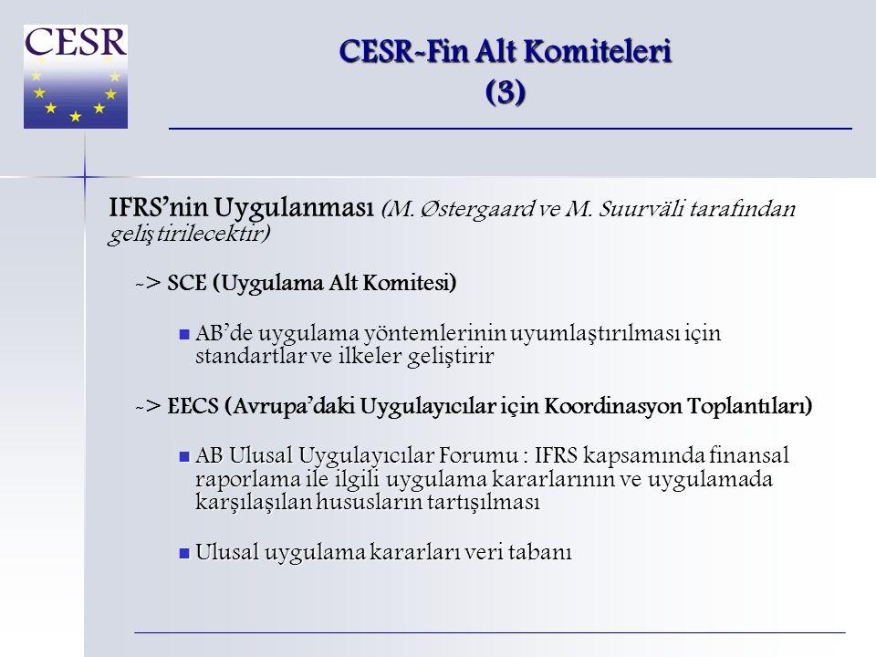 CESR-Fin Alt Komiteleri (3) IFRS'nin Uygulanması (M.