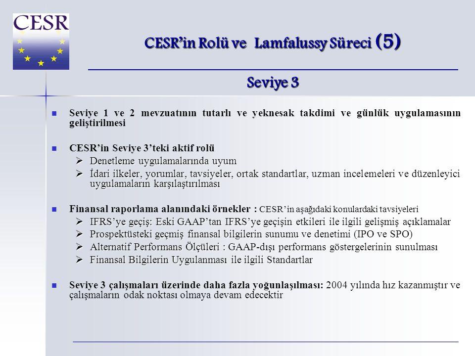   Seviye 1 ve 2 mevzuatının tutarlı ve yeknesak takdimi ve günlük uygulamasının geliştirilmesi   CESR'in Seviye 3'teki aktif rolü  Denetleme uygulamalarında uyum  İdari ilkeler, yorumlar, tavsiyeler, ortak standartlar, uzman incelemeleri ve düzenleyici uygulamaların karşılaştırılması   Finansal raporlama alanındaki örnekler : CESR'in aşağıdaki konulardaki tavsiyeleri  IFRS'ye geçiş: Eski GAAP'tan IFRS'ye geçişin etkileri ile ilgili gelişmiş açıklamalar  Prospektüsteki geçmiş finansal bilgilerin sunumu ve denetimi (IPO ve SPO)  Alternatif Performans Ölçüleri : GAAP-dışı performans göstergelerinin sunulması  Finansal Bilgilerin Uygulanması ile ilgili Standartlar   Seviye 3 çalışmaları üzerinde daha fazla yoğunlaşılması: 2004 yılında hız kazanmıştır ve çalışmaların odak noktası olmaya devam edecektir CESR'in Rolü ve Lamfalussy Süreci (5) Seviye 3