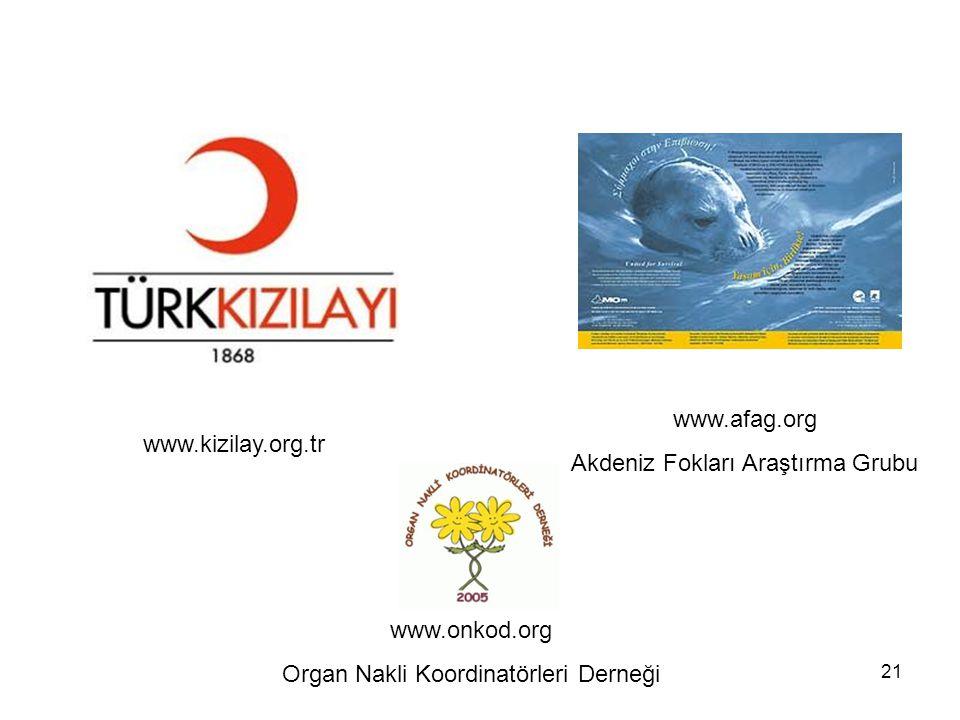 21 www.afag.org Akdeniz Fokları Araştırma Grubu www.kizilay.org.tr www.onkod.org Organ Nakli Koordinatörleri Derneği