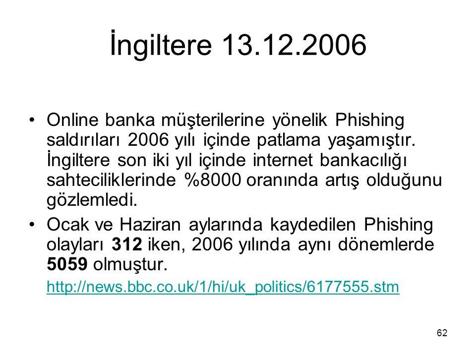 62 İngiltere 13.12.2006 •Online banka müşterilerine yönelik Phishing saldırıları 2006 yılı içinde patlama yaşamıştır. İngiltere son iki yıl içinde int