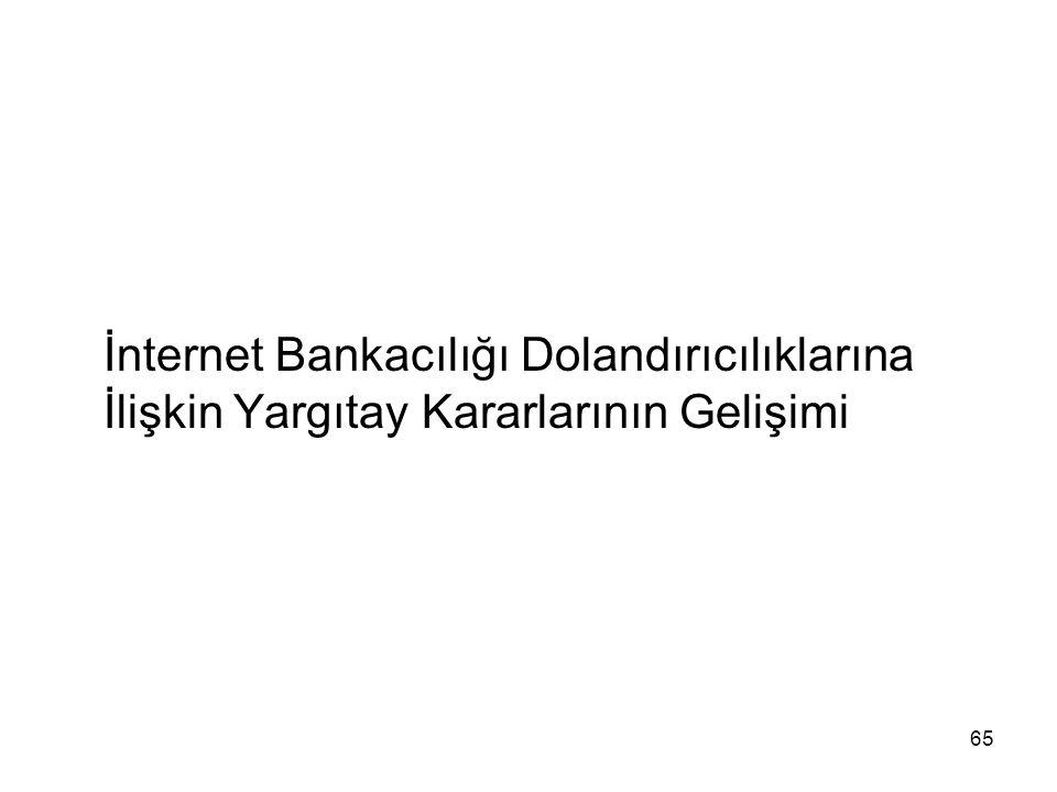 65 İnternet Bankacılığı Dolandırıcılıklarına İlişkin Yargıtay Kararlarının Gelişimi