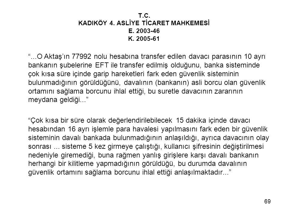"""69 T.C. KADIKÖY 4. ASLİYE TİCARET MAHKEMESİ E. 2003-46 K. 2005-61 """"...O Aktaş'ın 77992 nolu hesabına transfer edilen davacı parasının 10 ayrı bankanın"""
