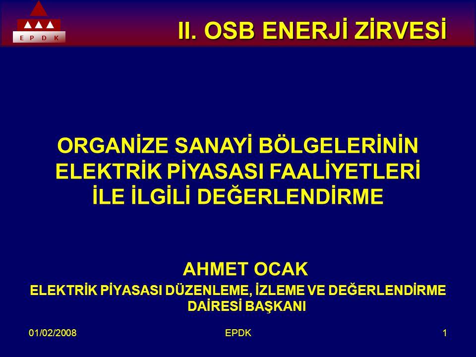 E P D K 01/02/2008EPDK1 II. OSB ENERJİ ZİRVESİ II.