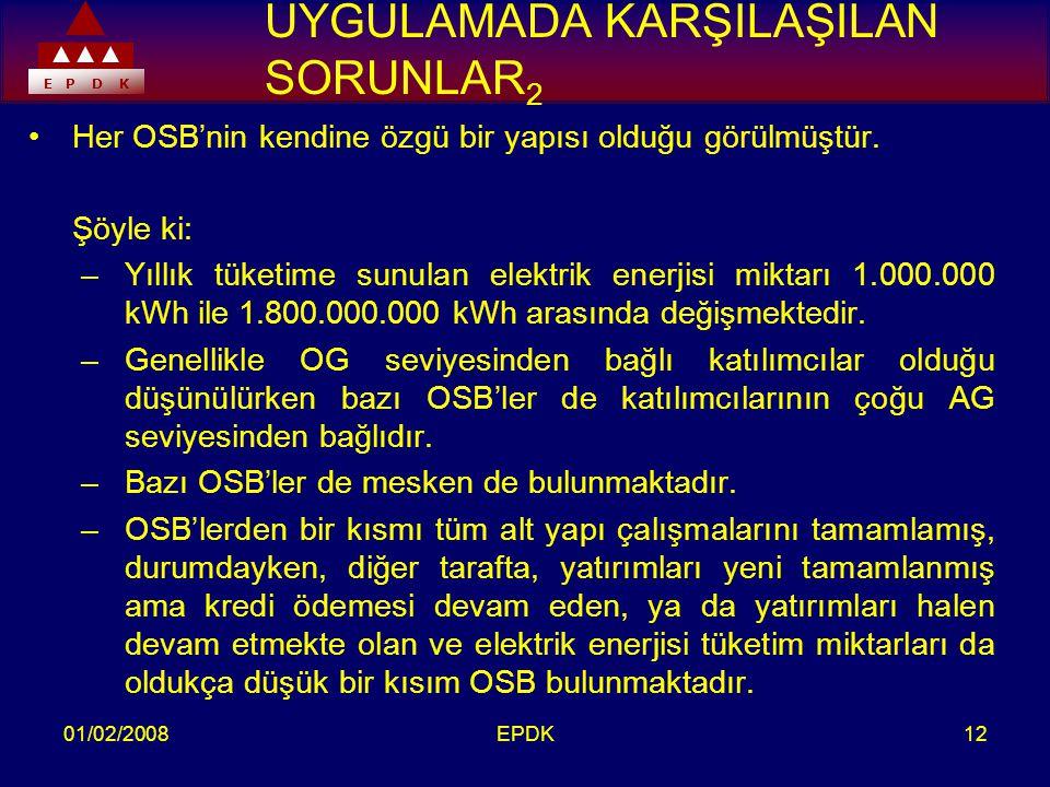 E P D K 01/02/2008EPDK12 UYGULAMADA KARŞILAŞILAN SORUNLAR 2 •Her OSB'nin kendine özgü bir yapısı olduğu görülmüştür.