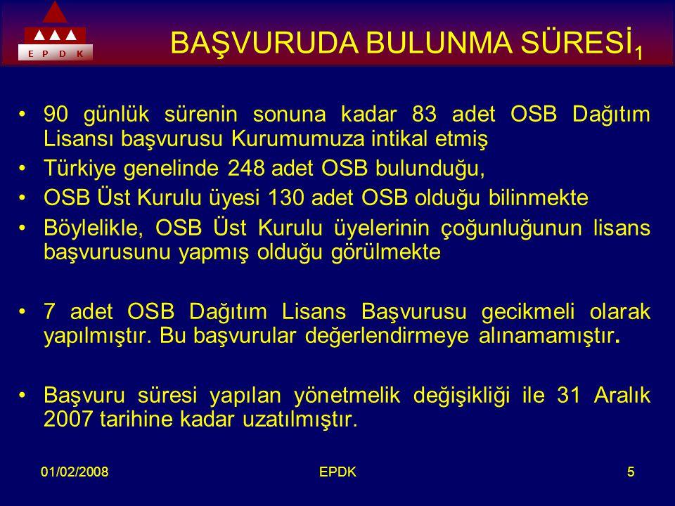 E P D K 01/02/2008EPDK5 BAŞVURUDA BULUNMA SÜRESİ 1 •90 günlük sürenin sonuna kadar 83 adet OSB Dağıtım Lisansı başvurusu Kurumumuza intikal etmiş •Türkiye genelinde 248 adet OSB bulunduğu, •OSB Üst Kurulu üyesi 130 adet OSB olduğu bilinmekte •Böylelikle, OSB Üst Kurulu üyelerinin çoğunluğunun lisans başvurusunu yapmış olduğu görülmekte •7 adet OSB Dağıtım Lisans Başvurusu gecikmeli olarak yapılmıştır.