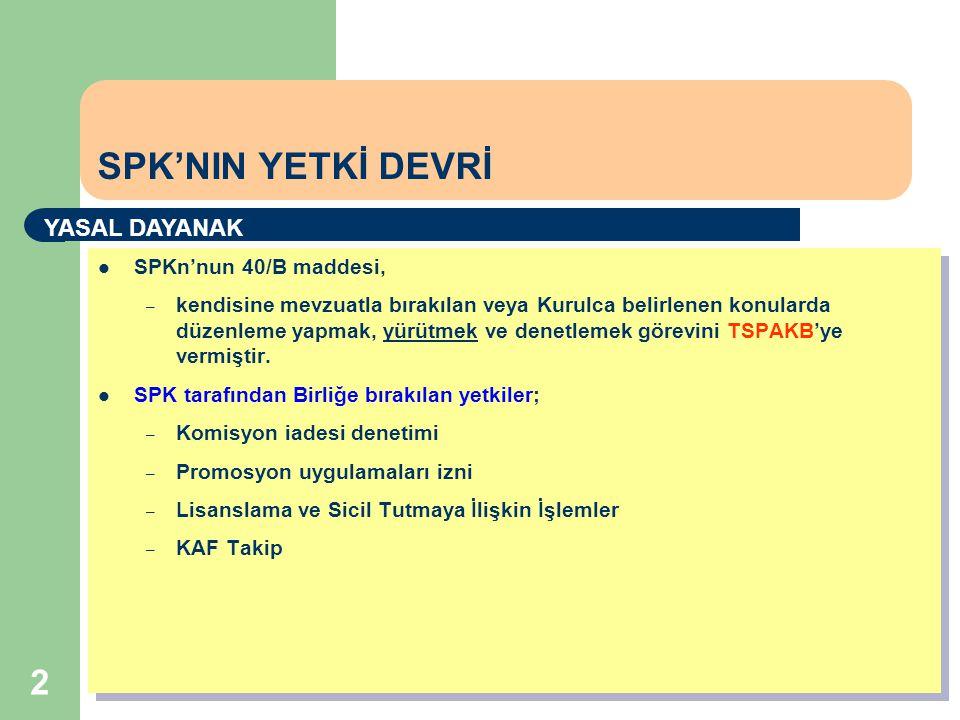 2  SPKn'nun 40/B maddesi, – kendisine mevzuatla bırakılan veya Kurulca belirlenen konularda düzenleme yapmak, yürütmek ve denetlemek görevini TSPAKB'ye vermiştir.