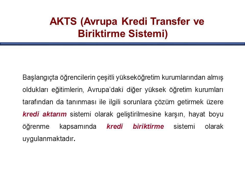 AKTS (Avrupa Kredi Transfer ve Biriktirme Sistemi) Başlangıçta öğrencilerin çeşitli yükseköğretim kurumlarından almış oldukları eğitimlerin, Avrupa'da