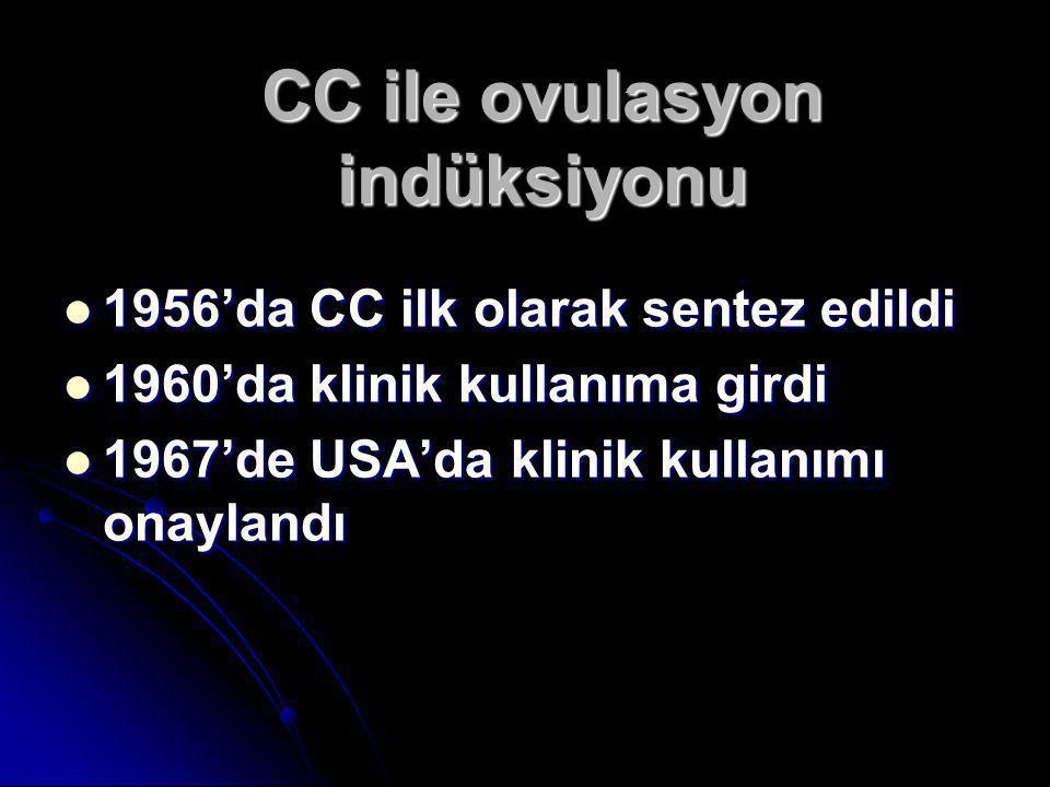 CC ile ovulasyon indüksiyonu  1956'da CC ilk olarak sentez edildi  1960'da klinik kullanıma girdi  1967'de USA'da klinik kullanımı onaylandı