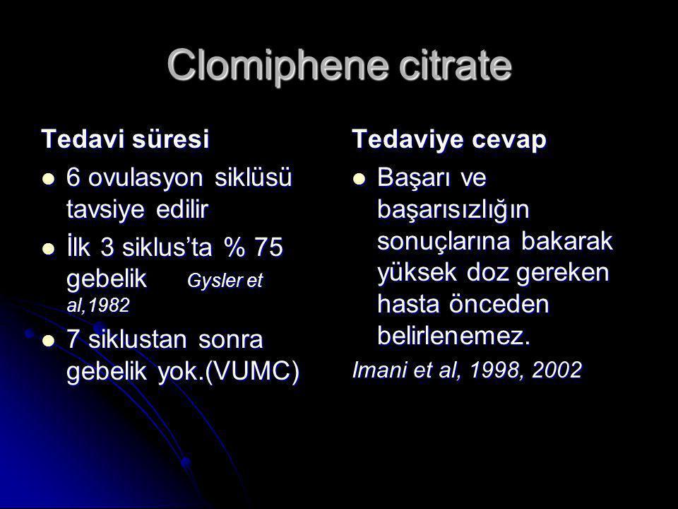 Clomiphene citrate Tedavi süresi  6 ovulasyon siklüsü tavsiye edilir  İlk 3 siklus'ta % 75 gebelik Gysler et al,1982  7 siklustan sonra gebelik yok