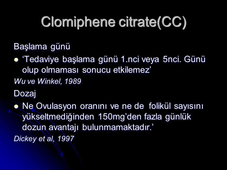 Clomiphene citrate(CC) Başlama günü  'Tedaviye başlama günü 1.nci veya 5nci. Günü olup olmaması sonucu etkilemez' Wu ve Winkel, 1989 Dozaj  Ne Ovula