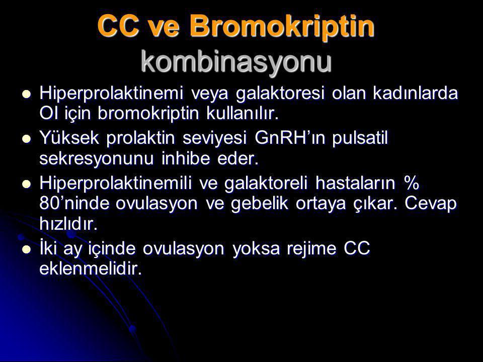 CC ve Bromokriptin kombinasyonu  Hiperprolaktinemi veya galaktoresi olan kadınlarda OI için bromokriptin kullanılır.  Yüksek prolaktin seviyesi GnRH
