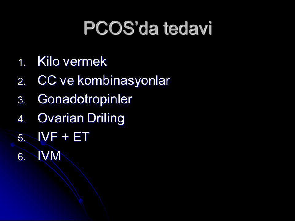 PCOS'da tedavi 1. Kilo vermek 2. CC ve kombinasyonlar 3. Gonadotropinler 4. Ovarian Driling 5. IVF + ET 6. IVM