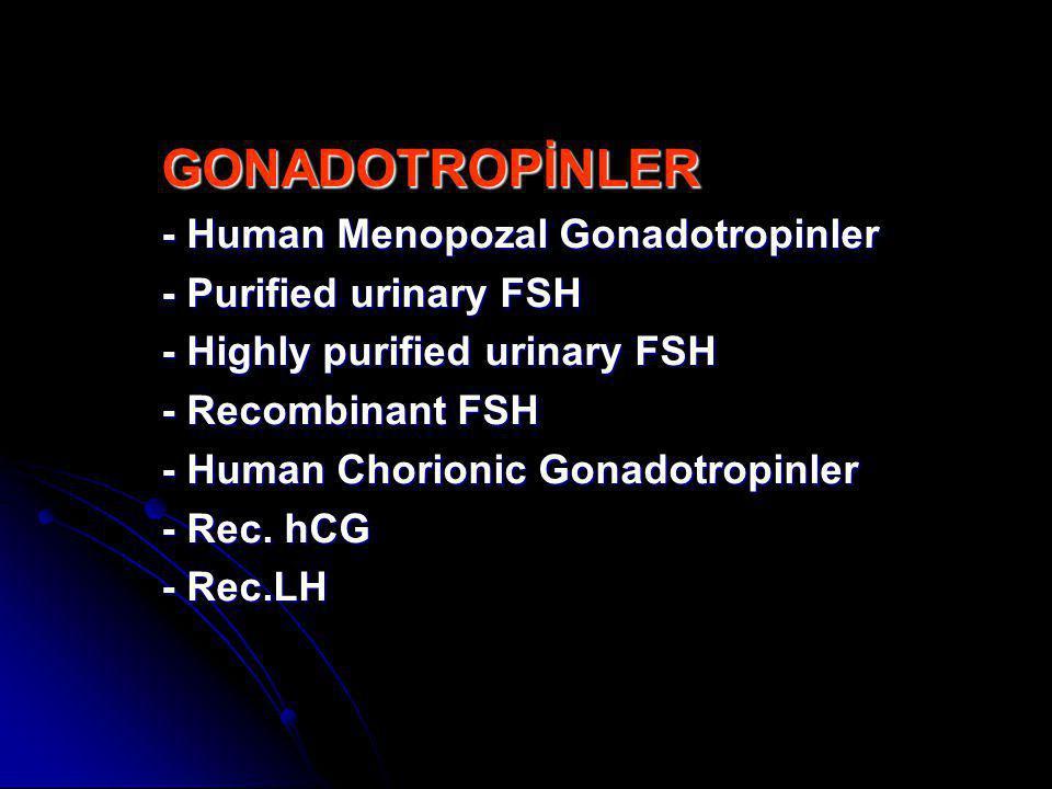 GONADOTROPİNLER - Human Menopozal Gonadotropinler - Purified urinary FSH - Highly purified urinary FSH - Recombinant FSH - Human Chorionic Gonadotropi