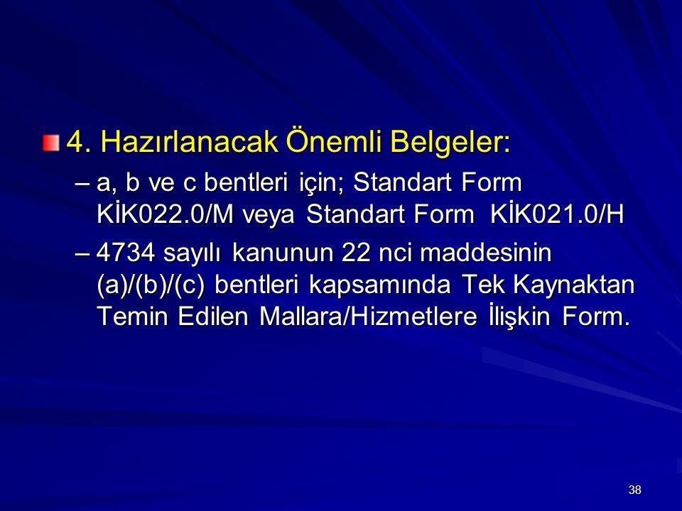 4. Hazırlanacak Önemli Belgeler: –a, b ve c bentleri için; Standart Form KİK022.0/M veya Standart Form KİK021.0/H –4734 sayılı kanunun 22 nci maddesin