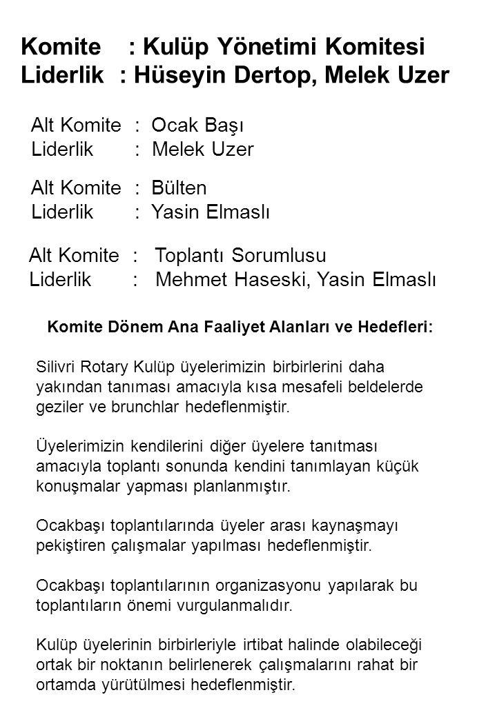 Komite : Kulüp Yönetimi Komitesi Liderlik : Hüseyin Dertop, Melek Uzer Alt Komite : Ocak Başı Liderlik : Melek Uzer Alt Komite : Bülten Liderlik : Yas