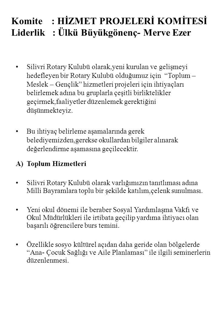 Komite : HİZMET PROJELERİ KOMİTESİ Liderlik : Ülkü Büyükgönenç- Merve Ezer •Silivri Rotary Kulubü olarak,yeni kurulan ve gelişmeyi hedefleyen bir Rota