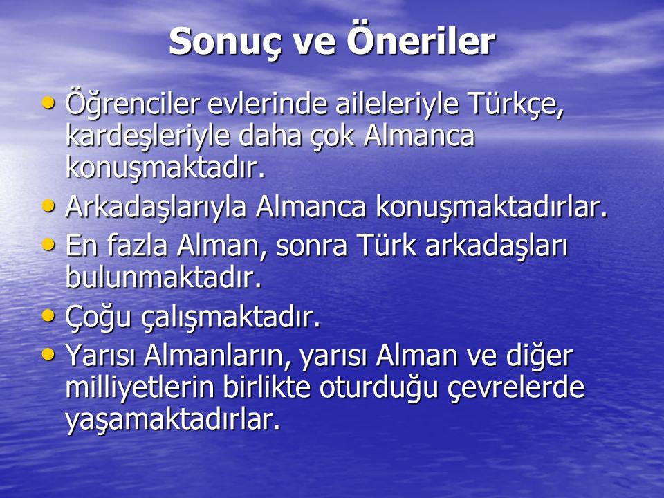 Sonuç ve Öneriler • Öğrenciler evlerinde aileleriyle Türkçe, kardeşleriyle daha çok Almanca konuşmaktadır.