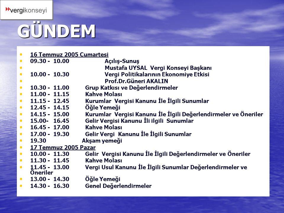VERGİ KONSEYİ 16-17 TEMMUZ 2005 MAŞUKİYE-KARTEPE TOPLANTILARI GÜNDEM: VERGİ KANUNLARININ YENİDEN YAZIMI
